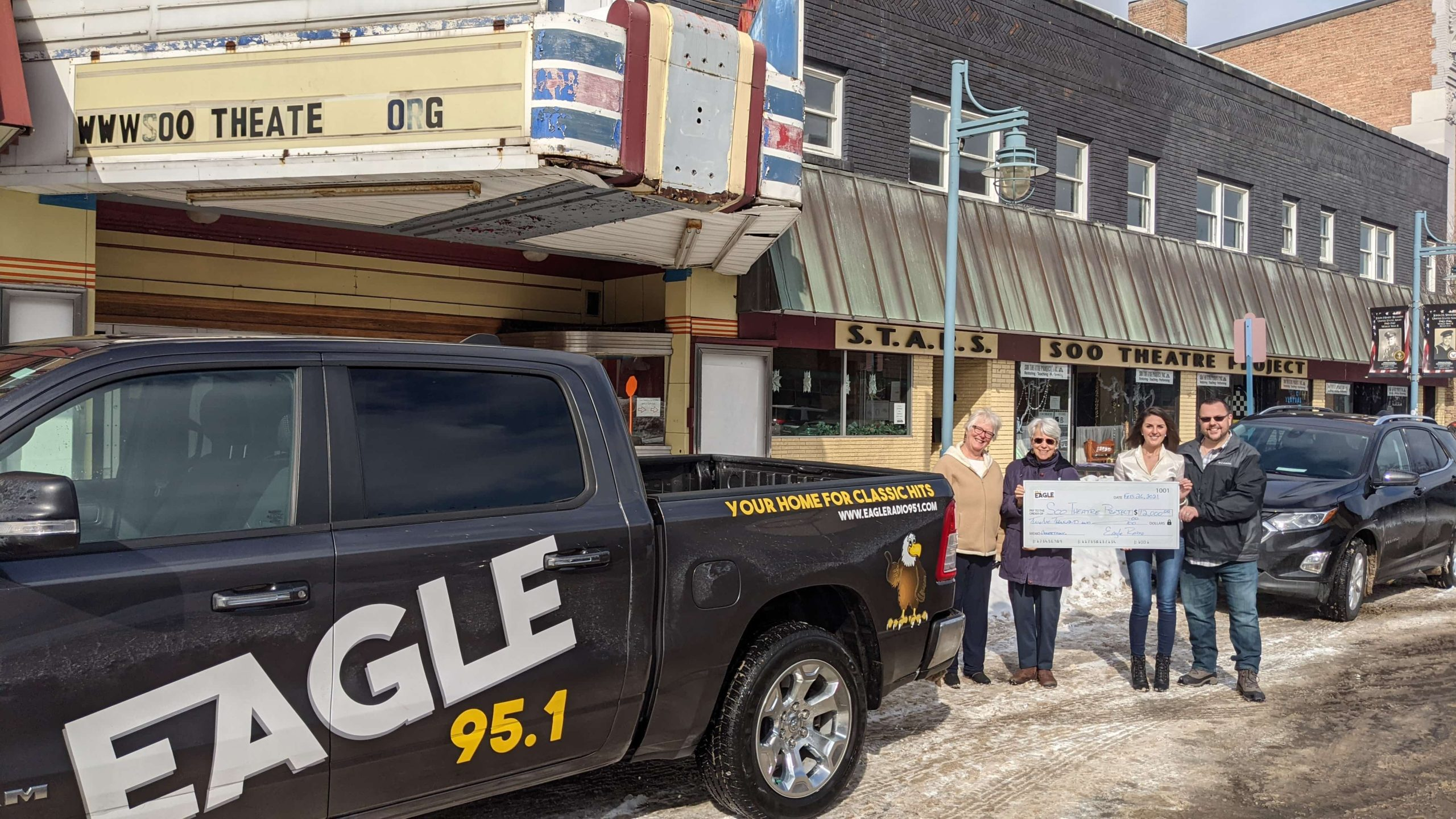 Eagle Radio 95.1 Pledges $12,000 to Soo Theatre Exterior Restoration Capital Campaign